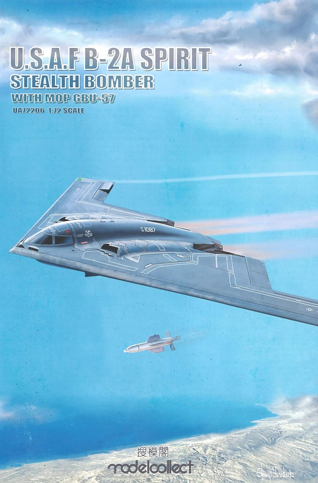 Modelcollect 1//72 USAF B-2A Spirit Stealth Bomber with Mop GBU-57