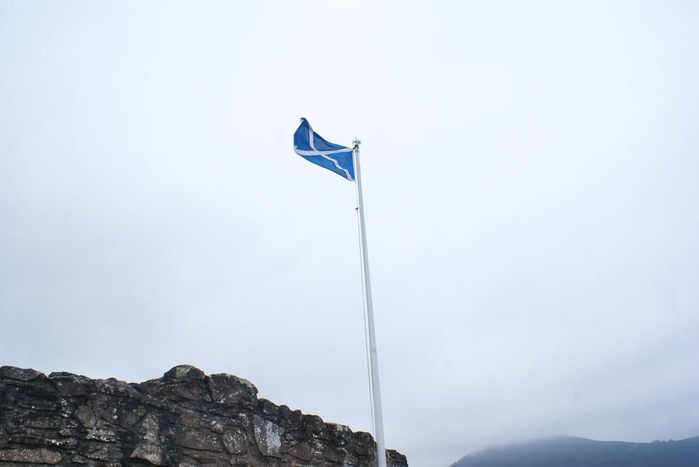 scottish flag loch ness urquhart castle scotland uk united kingdom royaume uni
