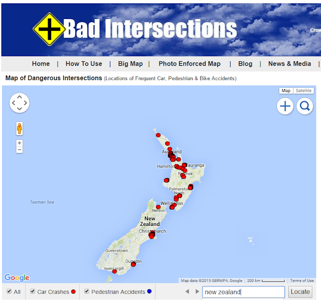 Map of dangerous intersections in New Zealand