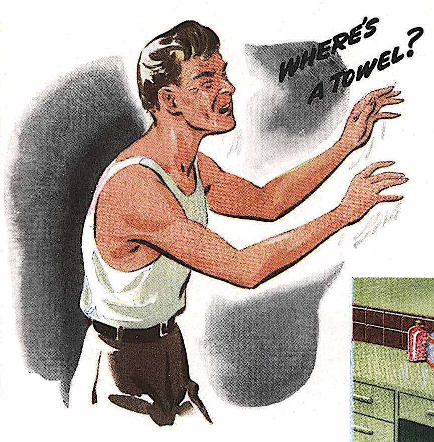 where's a towel? A 1940s color illustration of a wet faced man in a bathroom