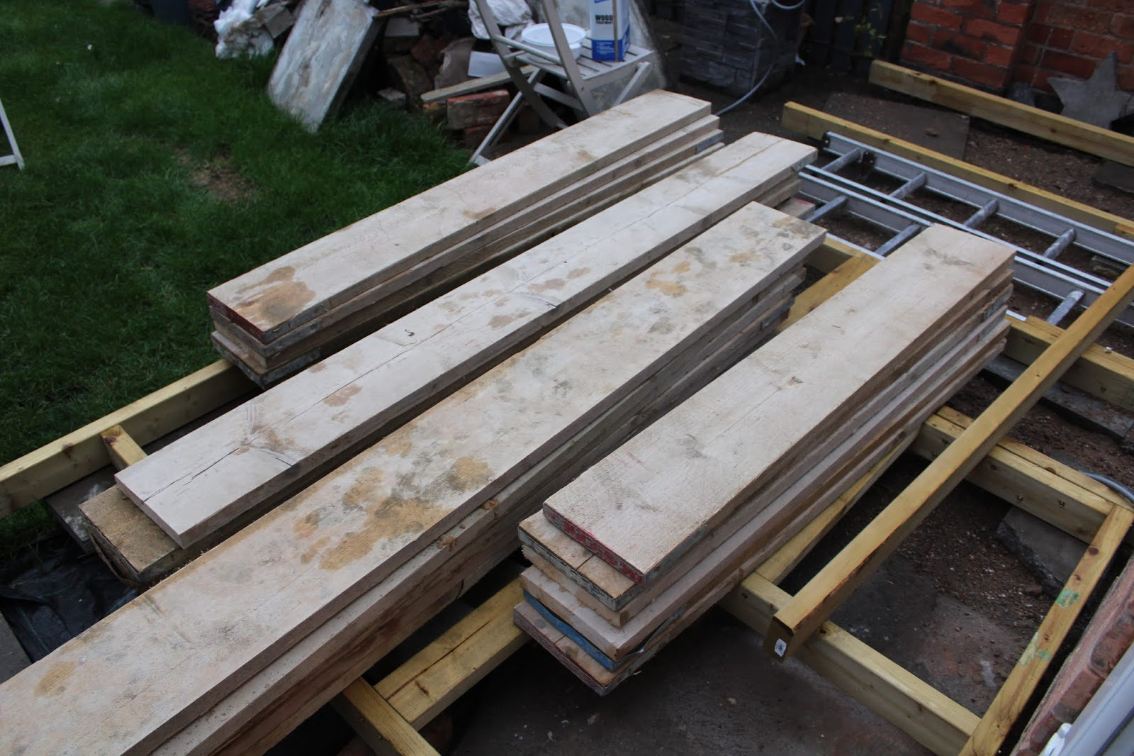 Decking made from scaffold boards