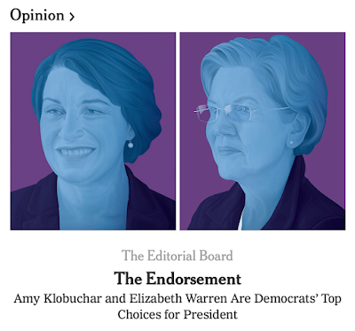 Is this gender-related? The NYT endorses both Amy Klobuchar and Elizabeth Warren.