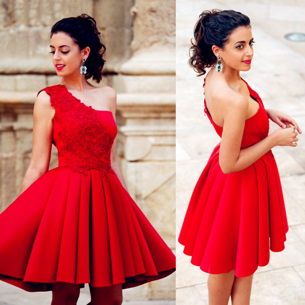 Red Appliques Short One-Shoulder A-Line Popular Homecoming Dress