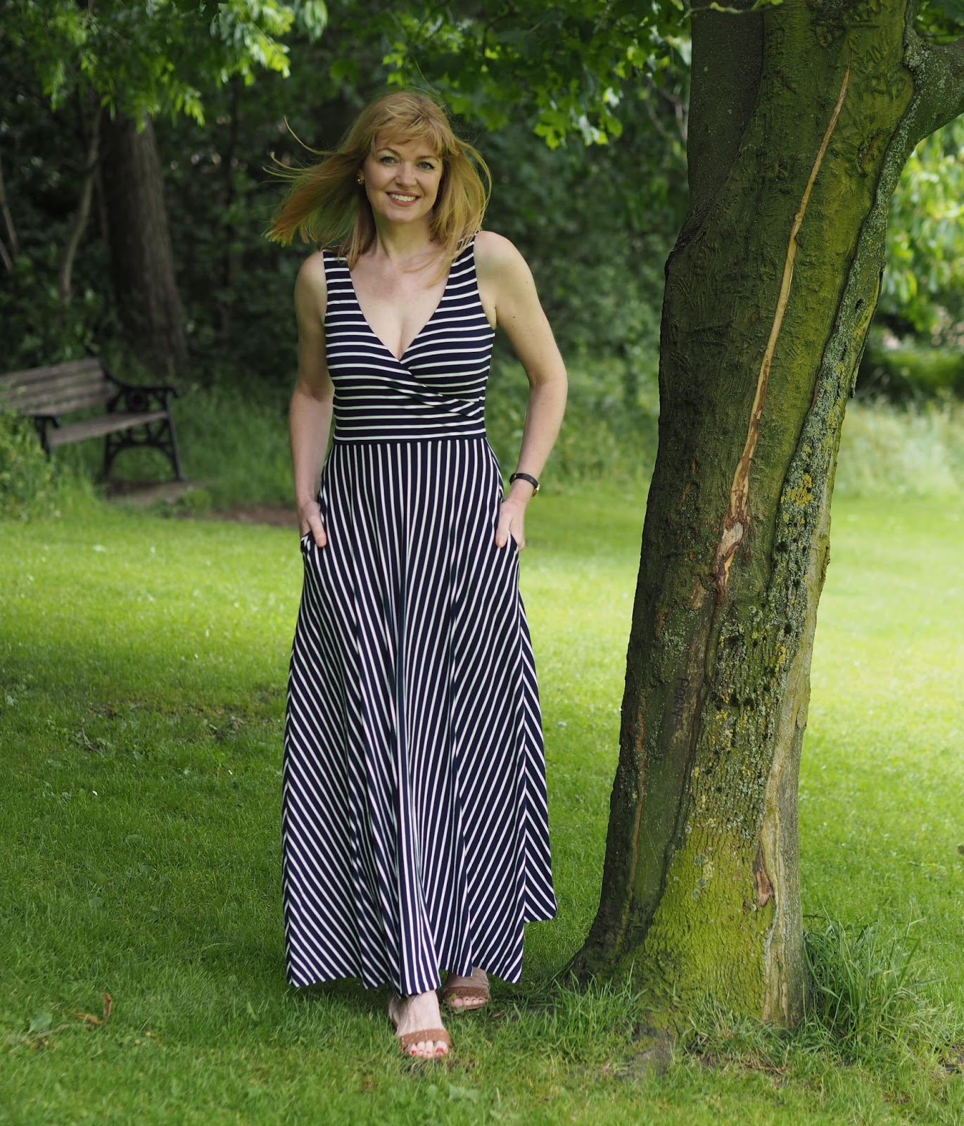 Boden striped maxi dress, star jewellery, red floral scarf, Over 40