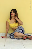 Cute Telugu Actress Shunaya Solanki High Definition Spicy Pos in Yellow Top and Skirt  0280.JPG