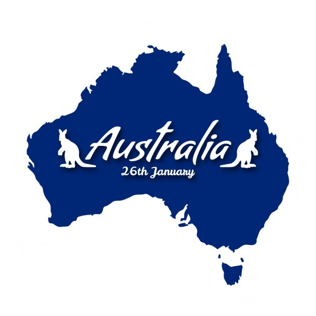 Background with a blue map for australia day Free Vector