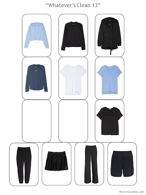 Step 4 of a Whatever's Clean 13 wardrobe in black, blue and white