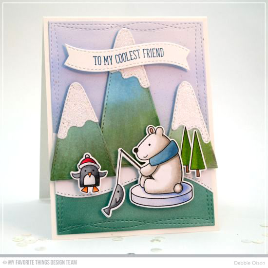 Handmade card from Debbie Olson featuring Cooler with You stamp set and Die-namics, and Snow Capped Mountains, Wonky Stitched Rectangle STAX, and Blueprints 25 Die-namics #mftstamps