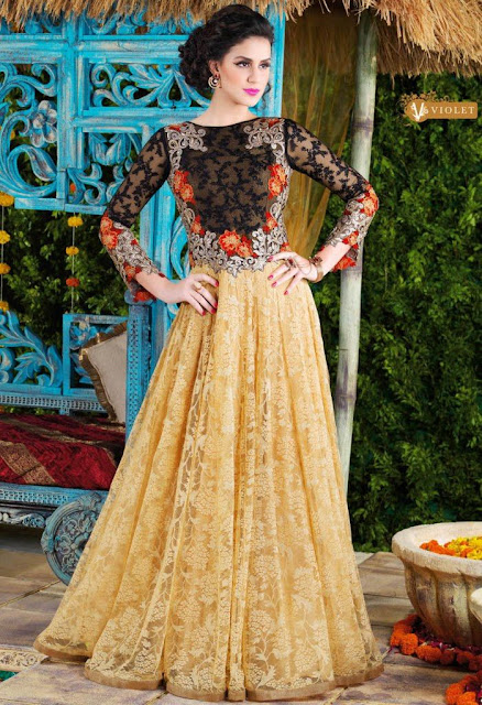 Black and beige anarkali suit