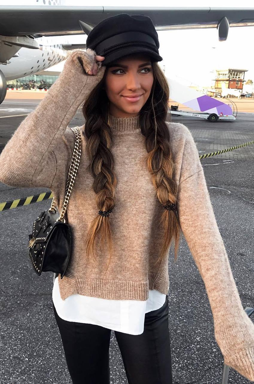 trendy outfit / bag + nude sweater + white top + black skinnies