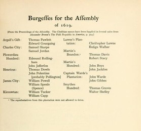 List Of The First Members Of The Virginia House Of Burgesses In 1619. Page  Vi. Of The Journals Of The House Of Burgesses, 1619u20131658/59, H. R.  McIlwaine, ...