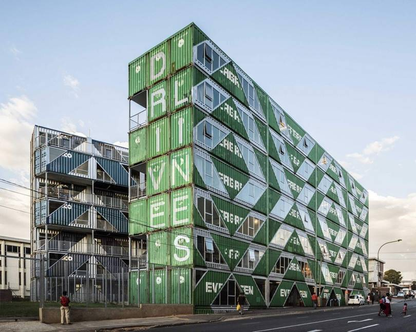 Intermodal Container Building in Johannesburg → The project of a non-standard residential complex Drivelines Studios was developed by the Italian-American architectural studio LOT-EK and implemented in 2017 in the business center of Maboneng in Johannesburg, South Africa.
