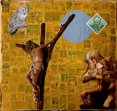 owl postage stamps flag crucifix Goya Saturn Eating his sons Dada Fluxus collage