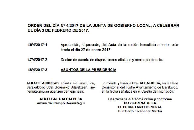Orden del día de la junta de Gobierno local
