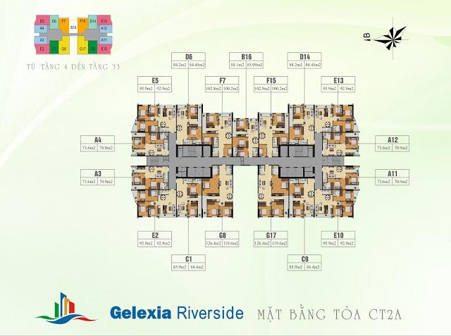 Mặt bằng tầng căn hộ điển hình tòa CT2A Gelexia Riverside
