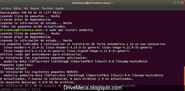 Instalamos Audacity por linea de comandos