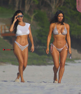 Kim Kardashian huge   huge  enjoying in bikini  with  sisters April 2017 Day 3