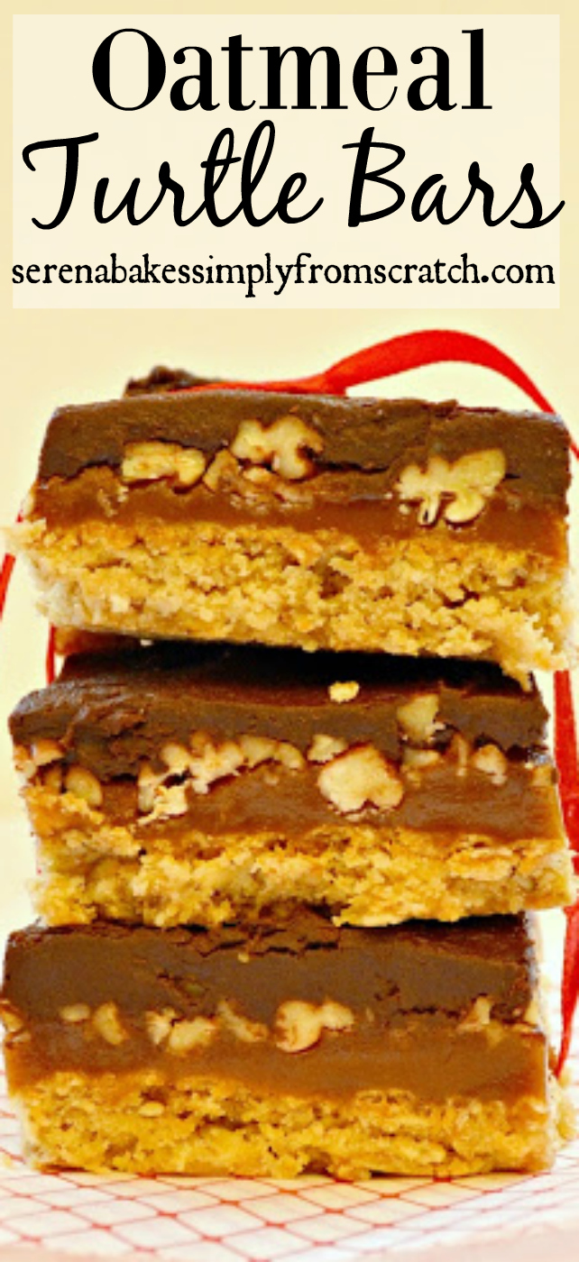 Oatmeal Turtle Bars with homemade caramel! The ultimate caramel, chocolate lovers treat! serenabakessimplyfromscratch.com