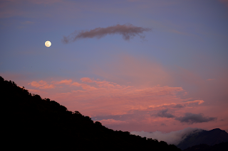 moon and pink sky