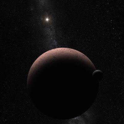 Ilustrasi Bulan MK2 planet Makemake