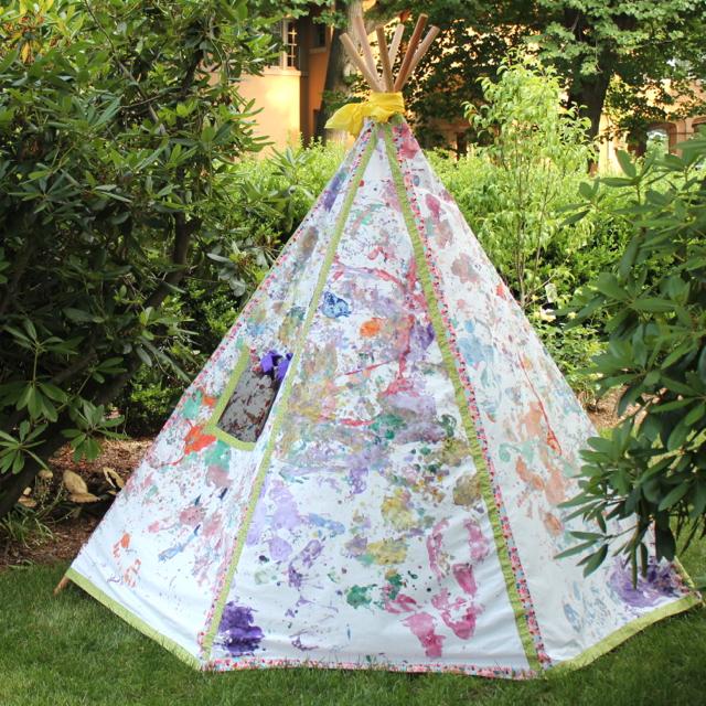 Kid Painted Teepee & Teepee Pattern