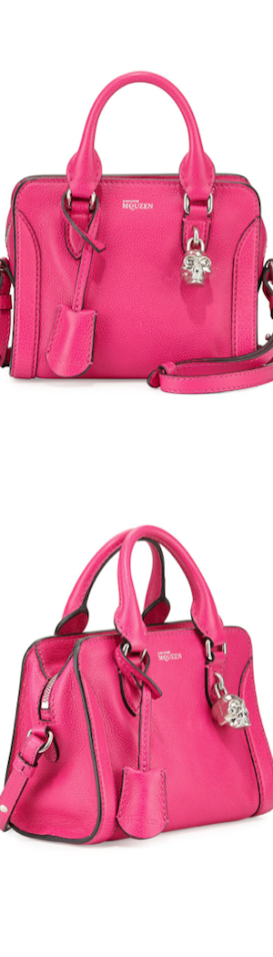 Alexander McQueen Mini Padlock Zip Satchel Bag, Pink