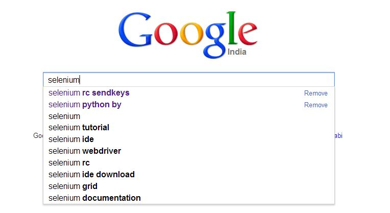 Java, WebDriver, Testing: How to get auto populated Google search