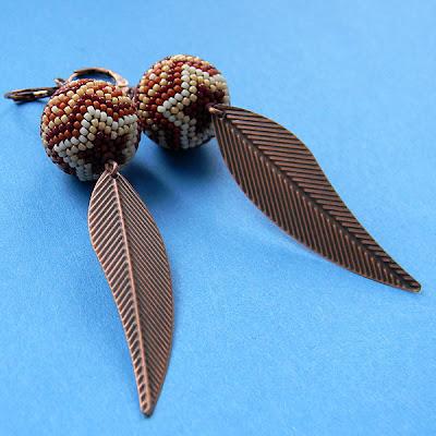 купить этно украшения из бисера украина бисероплетение серьги бусины оплетенные
