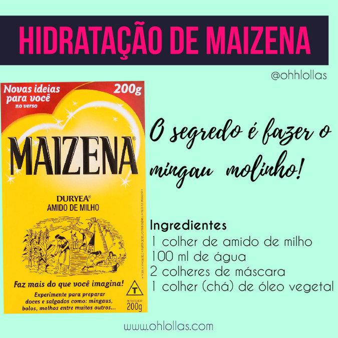 A Maizena é ótima hidratação para cabelos cacheados. O segredo é fazer um mingau molinho e misturar com a máscara de tratamento capilar.
