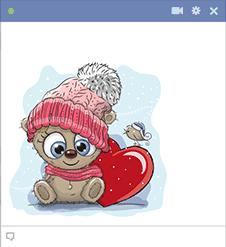 Winter Bear with Heart Emoji