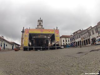 Palco de carnaval na praça de Ouro Preto/MG.