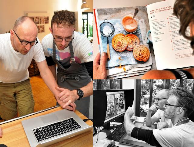 Koch Manuel Weyer und Food-Fotograf Mathias Neubauer bei der Arbeit am neuen Grillbuch