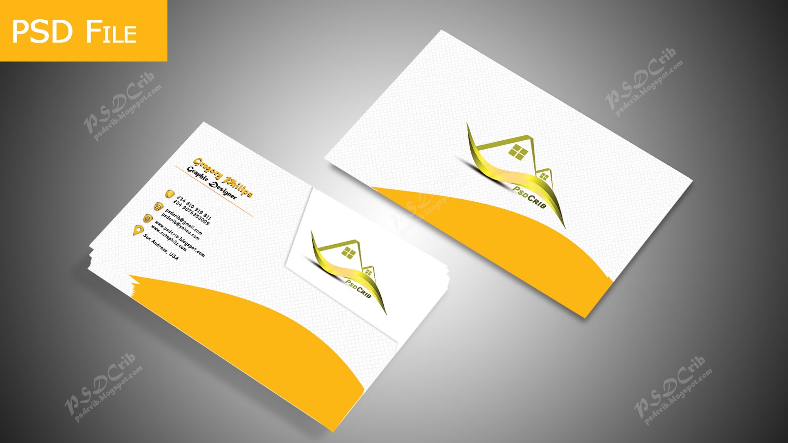 Elegant nice orange business card psd crib creative photoshop business cards are the most basic tools for personal or business use and are ideal for exchanging contact information customize yours to suit your needs magicingreecefo Image collections