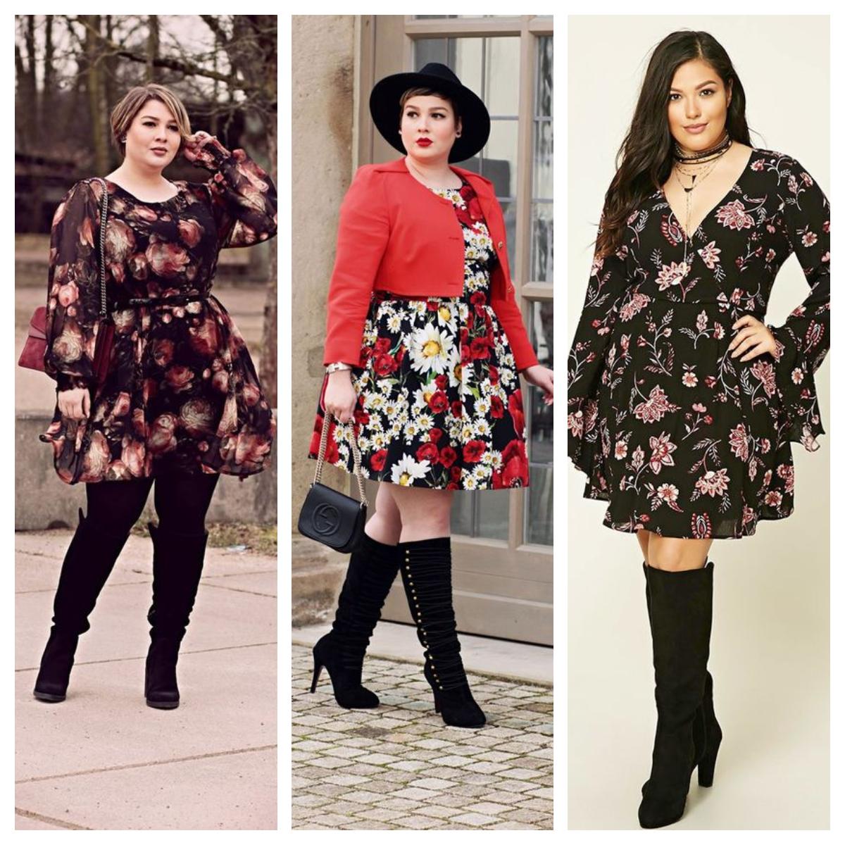411faca572 Tendencia otoño  vestidos florales con botas para gorditas