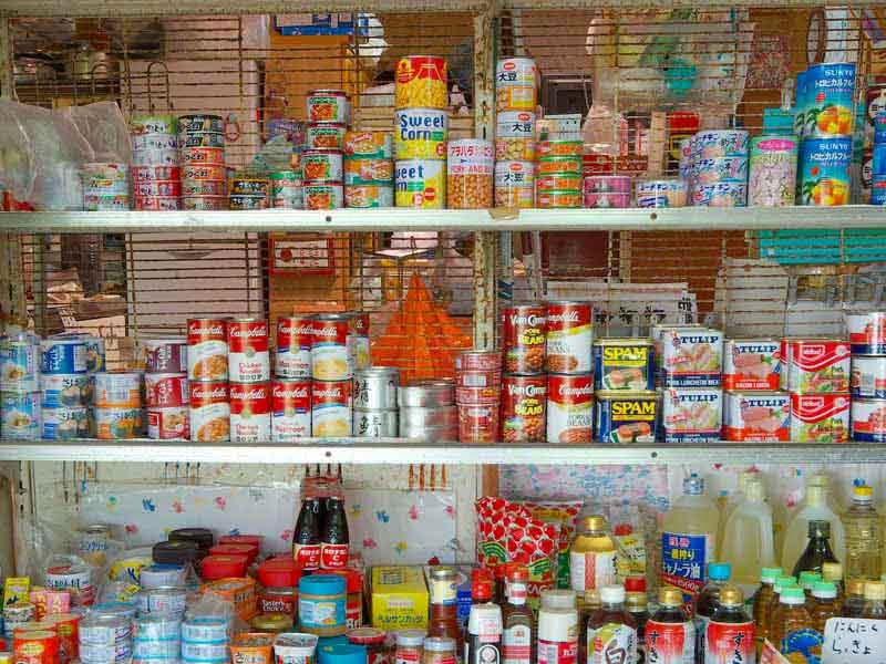 canned goods,beans,vegetables,fruits,sauces