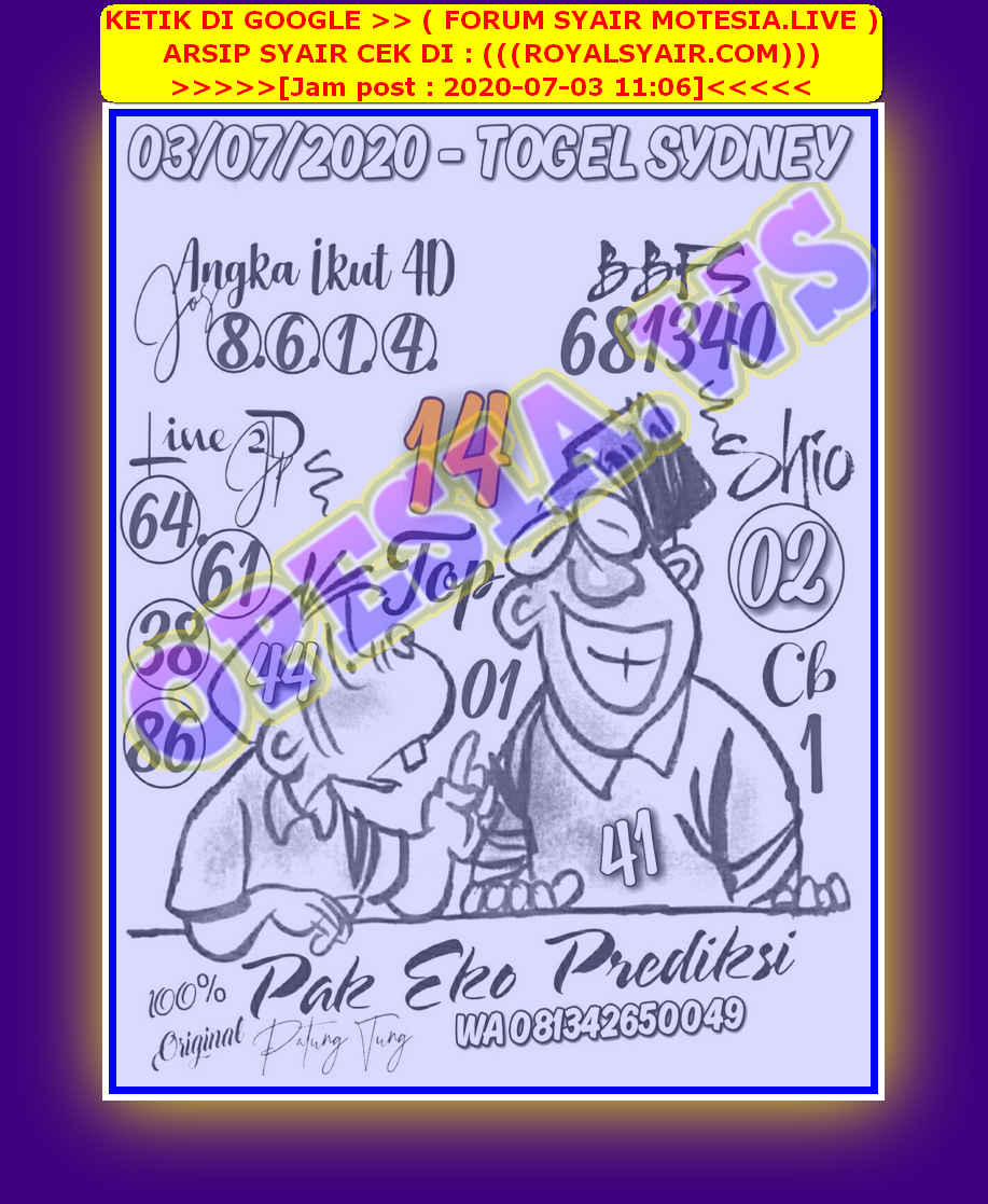 Kode syair Sydney Jumat 3 Juli 2020 22