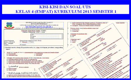 Soal PTS (Penilaian Tengah Semester) Kelas 4 Semester 1 Kurikulum 2013