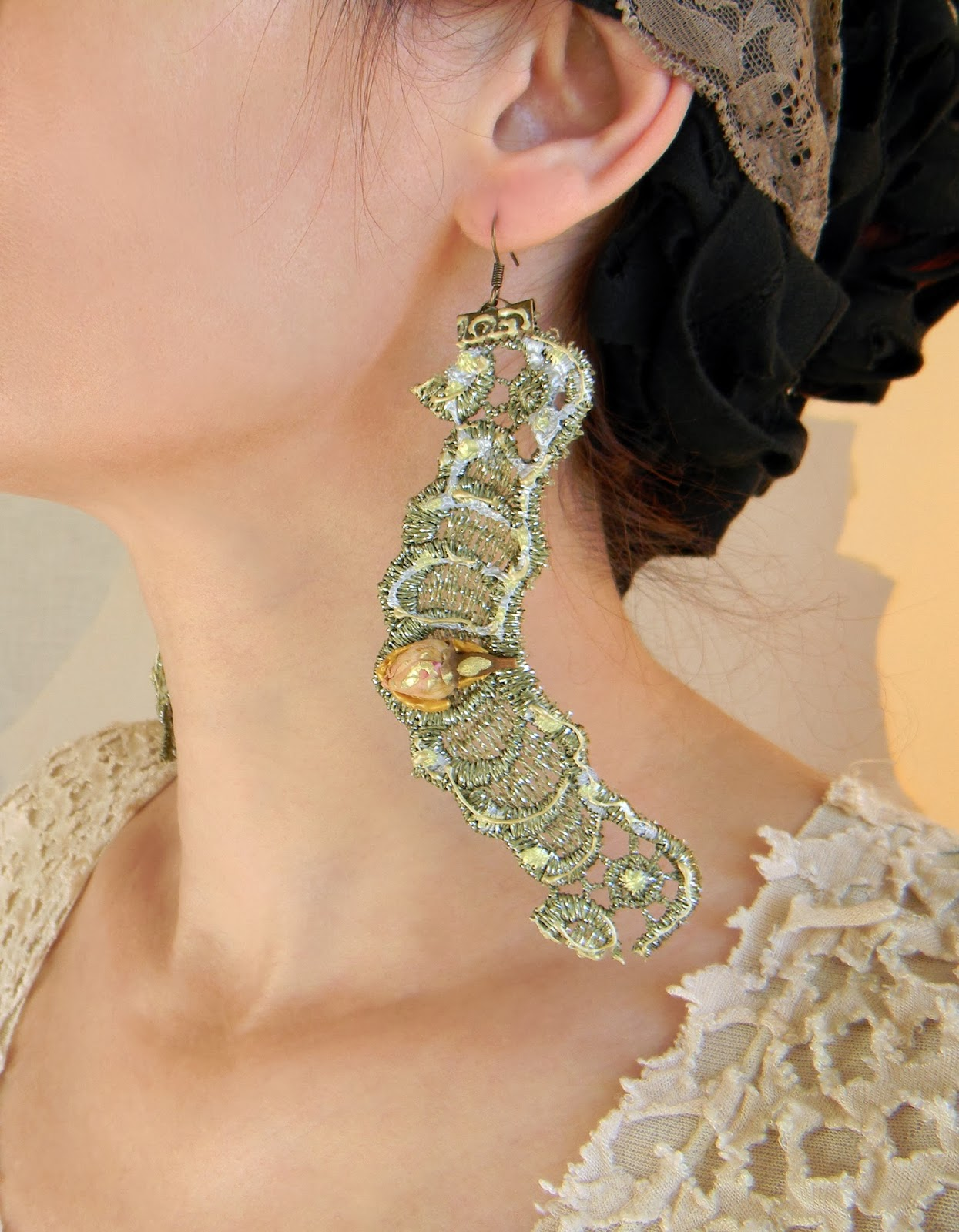 Shabby Chic Romantic Earrings Lace Earrings Long Lace Earrings