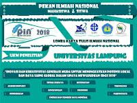 Lomba Karya Tulis Mahasiswa Nasional PIN 2018 di Universitas Lampung