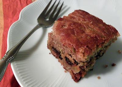 slice of apple cake on plate