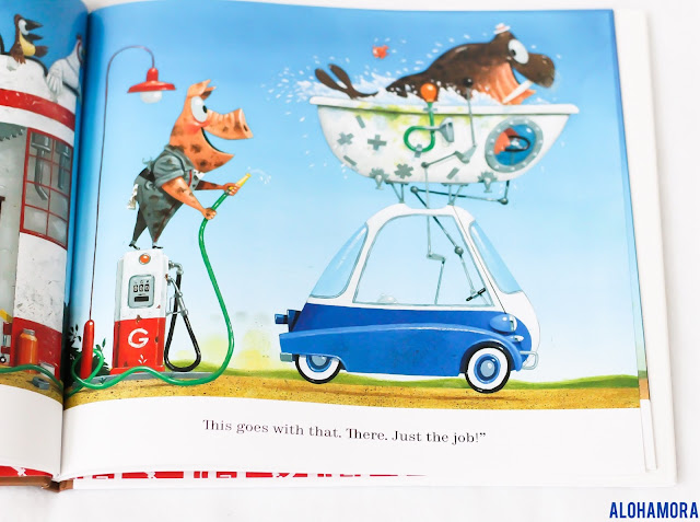 Gus's Garage by Leo Timmers gets 5 out of 5 stars in my book review. Great colorful pictures.  Simple text. Creativity with an engineering/STEM focus.  Fun, animals, building, innovation. Alohamora Open a Book https://alohamoraopenabook.blogspot.com/