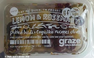 Graze snack lemon and rosemary olives