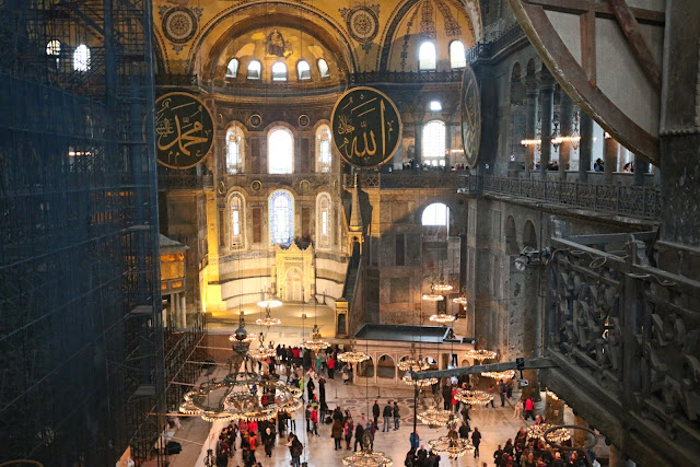 Beautiful combination of the interior design  of domes, window panels and lighting in Hagia Sophia at Sultanahmet in Istanbul, Turkey
