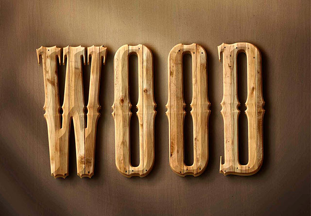 3D-Wood-Text-Style