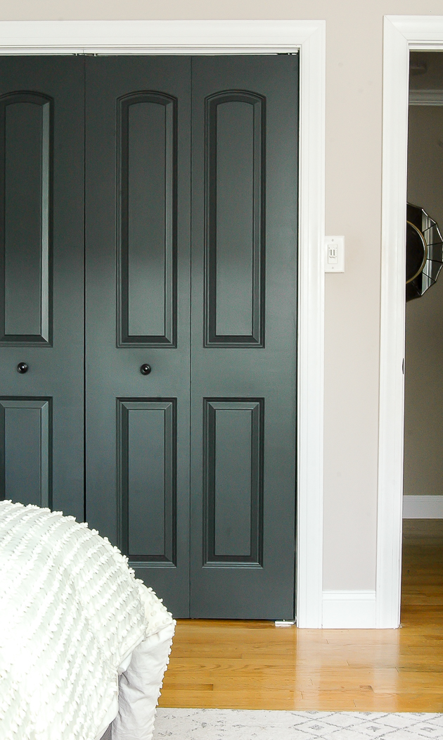 dark painted interior doors, modern farmhouse bedroom