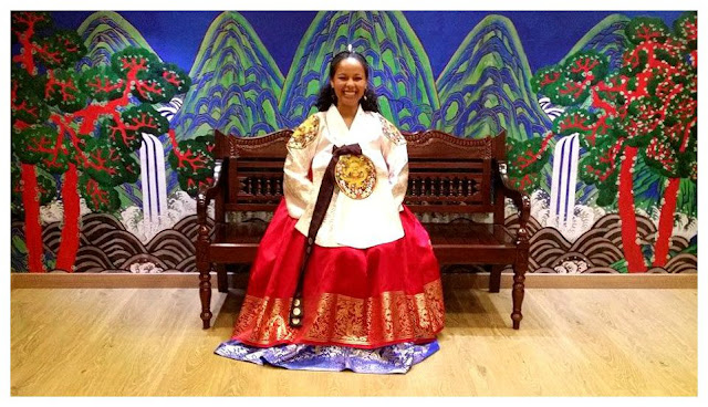 Wearing a Hanbok in Korea, traditional clothing