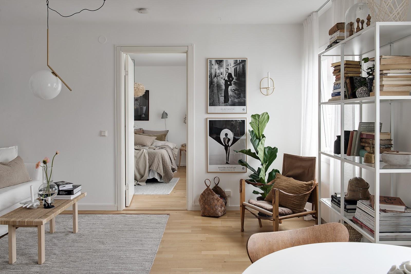 Decor în tonuri naturale de culoare într-un apartament de 40 m²