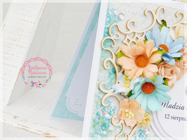 ręcznie robiona kartka ślubna, scrapbooking, handmade