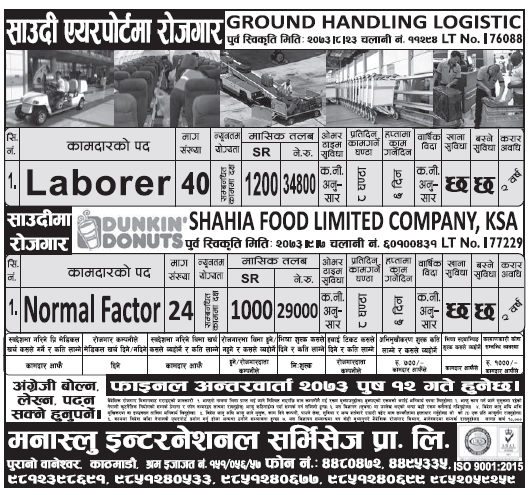 Jobs in Saudi Airport for Nepali, Salary Rs 34,800