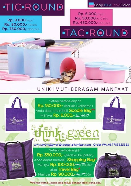 Promo Diskon Tulipware November 2017, Tic Tac Round, Goodie Bag, Shopping Bag